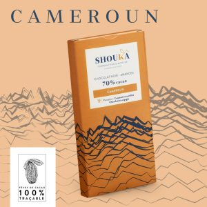 "Chocolat Noir – Amandes – 70% Cacao<br><small class=""productArchive-tag"">CAMEROUN</small>"