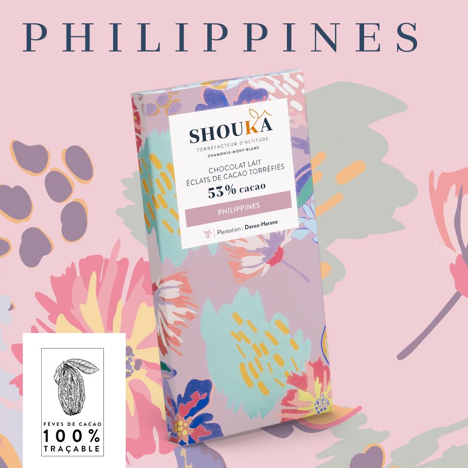 Chocolat Philippines Lait 53% Éclats de cacao torréfiés Shoukâ